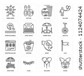 set of 16 icons such as clown ...