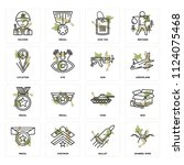 set of 16 icons such as barbed...