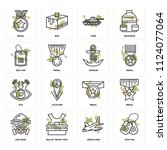 set of 16 icons such as dog tag ...