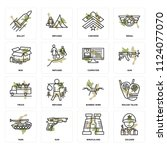 set of 16 icons such as soldier ...