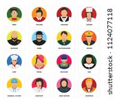 set of 16 icons such as showman ...