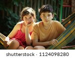 teenager siblings boy and girl... | Shutterstock . vector #1124098280