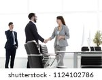 welcome handshake manager and...   Shutterstock . vector #1124102786
