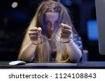arrested woman handcuffed hands.... | Shutterstock . vector #1124108843