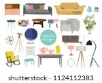 collection of furniture.... | Shutterstock .eps vector #1124112383