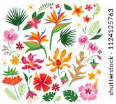 set of tropical flowers. vector ... | Shutterstock .eps vector #1124125763