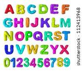 colorful paint alphabet ... | Shutterstock . vector #112413968