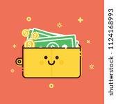 happy wallet icon of flat line... | Shutterstock .eps vector #1124168993