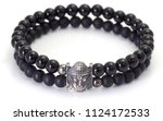 silver buddha face figure black ... | Shutterstock . vector #1124172533