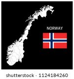 map and national flag of norway ... | Shutterstock .eps vector #1124184260