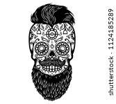 bearded sugar skull. design... | Shutterstock .eps vector #1124185289