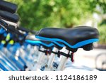 close up of the shared bike s... | Shutterstock . vector #1124186189