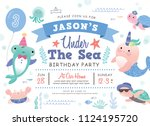 kids birthday party under the... | Shutterstock .eps vector #1124195720