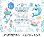 baby shower under the sea theme ... | Shutterstock .eps vector #1124195726