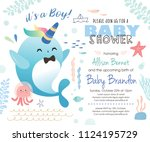 baby shower under the sea theme ... | Shutterstock .eps vector #1124195729