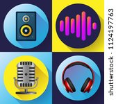 musical icons set flat style  ...   Shutterstock .eps vector #1124197763