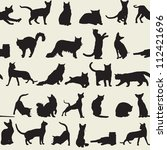seamless background with cats | Shutterstock .eps vector #112421696