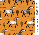 baby seamless pattern with cute ... | Shutterstock .eps vector #1124222123