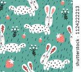 baby seamless pattern   rabbits ... | Shutterstock .eps vector #1124222213