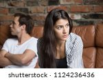 angry unhappy young couple... | Shutterstock . vector #1124236436