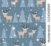 seamless pattern  deers ... | Shutterstock .eps vector #1124240069
