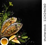 grilled fish  sea bream with...   Shutterstock . vector #1124246360
