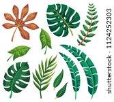 vector tropical leaves on white ... | Shutterstock .eps vector #1124252303