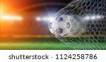 view of a football ball in the... | Shutterstock . vector #1124258786