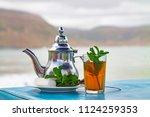 a glass of mint tea with an... | Shutterstock . vector #1124259353
