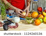 healthy food  young girl... | Shutterstock . vector #1124260136