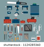 tools shopicons set in flat... | Shutterstock .eps vector #1124285360