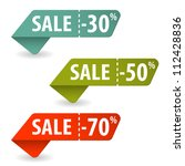 collect sale signs with tear... | Shutterstock .eps vector #112428836