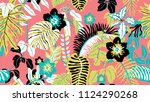 colorful botanical seamless... | Shutterstock .eps vector #1124290268