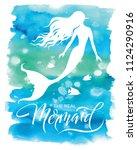 mermaid  silhouette  hand drawn ... | Shutterstock .eps vector #1124290916