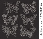 vector  white silhouette  set... | Shutterstock .eps vector #1124301176