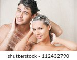young couple washing their... | Shutterstock . vector #112432790