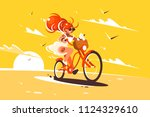girl ride on bicycle with cat... | Shutterstock .eps vector #1124329610