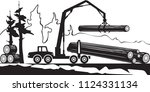 tractor loading wood timbers in ... | Shutterstock .eps vector #1124331134