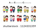 kids asian in traditional... | Shutterstock .eps vector #1124331359