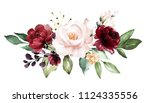 watercolor burgundy flowers.... | Shutterstock . vector #1124335556