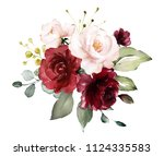 watercolor burgundy flowers.... | Shutterstock . vector #1124335583