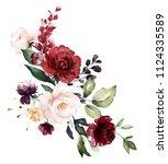 watercolor burgundy flowers.... | Shutterstock . vector #1124335589