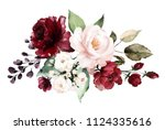 watercolor burgundy flowers.... | Shutterstock . vector #1124335616