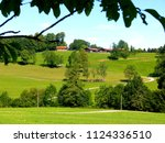 Rural Area With Meadow Field...