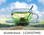 Green tea cup with green tea...
