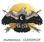 soaring bird of prey.  vector... | Shutterstock .eps vector #1124339129