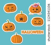 vector set of halloween icons... | Shutterstock .eps vector #1124341106