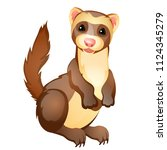 funny ferret toy isolated on... | Shutterstock .eps vector #1124345279