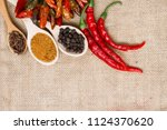 chili pepper  various spices on ... | Shutterstock . vector #1124370620