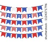 usa hanging bunting flags on... | Shutterstock .eps vector #1124371796